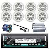 JVC Marine Boat Radio Stereo Player Receiver Bundle Combo with 8 x Magnadyne 5' White Waterproof Speakers  400-Watt Car/Marine Amplifier,  Enrock Radio Antenna,  50ft 16g Speaker Wire