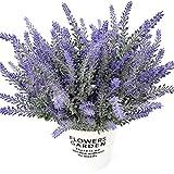 HEBE 8 Bundles Artificial Lavender Fake Flowers Bouquet Purple Lifelike Flocked Lavender Plant Shrubs for Party, Wedding, Garden,Office, Indoor Outdoor Home Decor,Unpotted