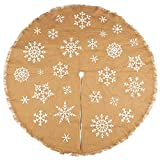 Juvale 60-Inch Christmas Tree Skirt - Circular Burlap Xmas Tree Decoration, Snowflake-Themed Christmas Tree Decor, Brown