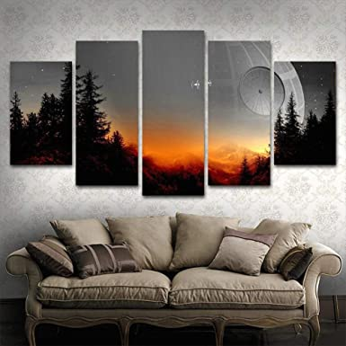 Amazon Com Boyh Modular Canvas Pictures Wall Art Framed 5 Pieces Star Wars Tree Death Star Painting Living Room Prints Movie Poster Home Decor Clothing