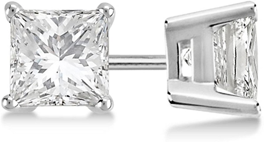 4ct Luxury Modern Princess Cut Diamond Studs Earring Platinum G-H VS-SI