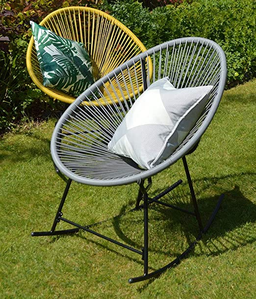 Sue Ryder String Rocking Retro Moon Chair Grey Garden Furniture Seat Amazon Co Uk Garden Outdoors