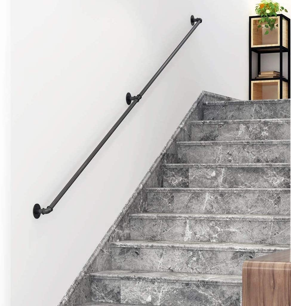 Amazon Com 1Ft 2F0T Industrial Stair Handrail Rustic Chic   Rustic Wrought Iron Stair Railings   Simple   House   Cabin   Iron Baluster   Contemporary
