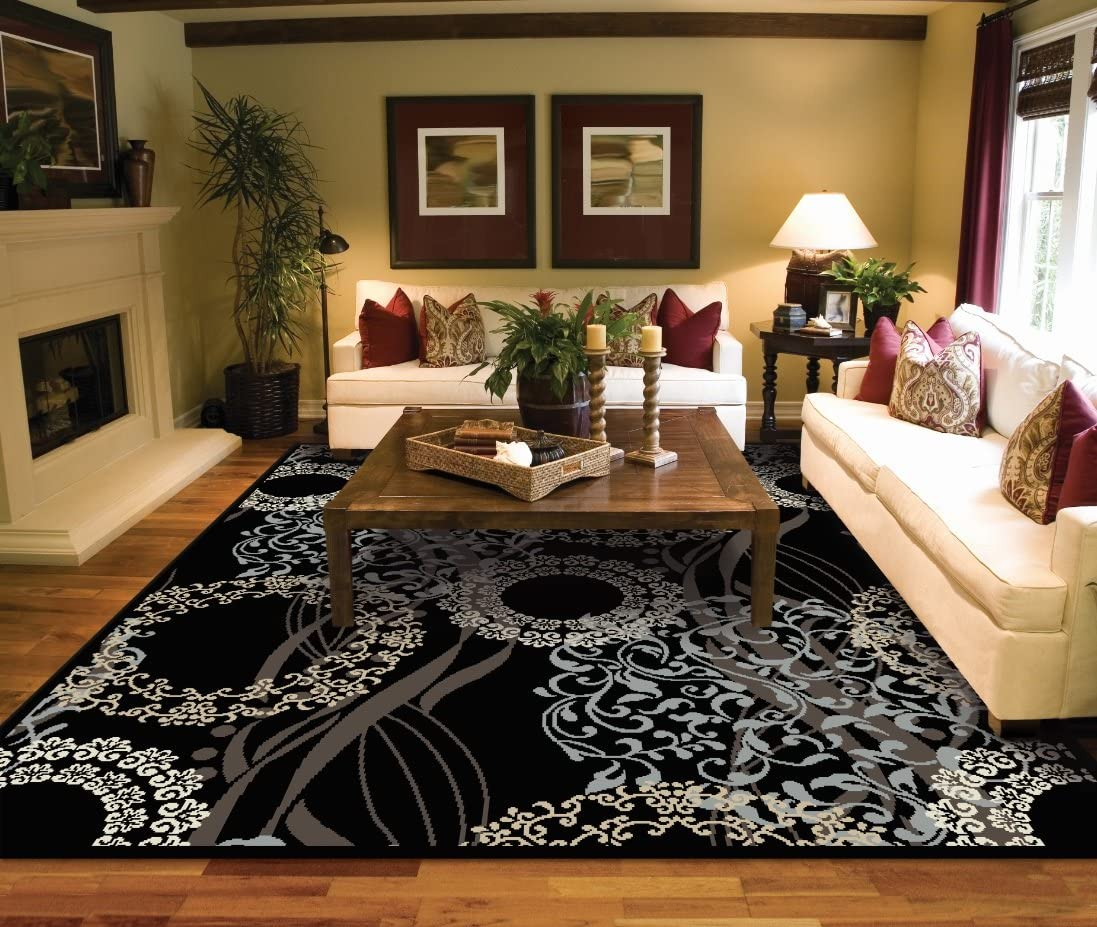 Amazon Com Large Rugs For Living Room 8x10 Black Area Rugs 8x10 Under 100 Home Kitchen