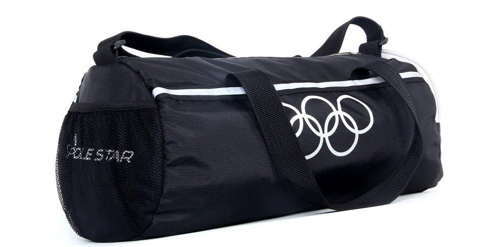 Black 26 lt Duffel Gym Bag with Shoe Pocket under Polestar Travel Bag