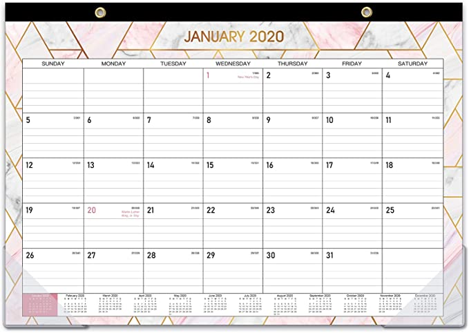 "2020 Desk Calendar - Desk/Wall Calendar 2020 with Transparent Protector, Marble, 17"" x 12"", Jan 2020 - Dec 2020, Perfect for Daily Schedule Planner, Ruled Blocks, Easily Tearing Off"