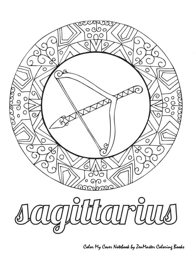 Color My Cover Notebook (Sagittarius): Therapeutic notebook for