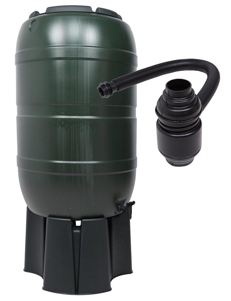 Regensammler Wassertonne für 210 Liter mit Standfuß, Füllautomat (Befüllsystem) und einem Verbindungs-Set für Wassertechnik von Kreher