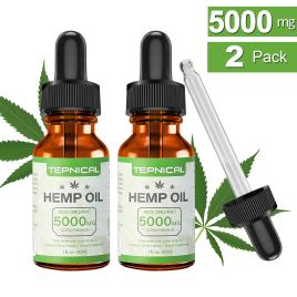 Hemp Oil with 5000mg of Organic Hemp Extract for Pain, Anxiety & Stress Relief – 100% Natural Hemp Oil Drops, Helps with Sleep, Skin & Hair(2-Pack/60ML)