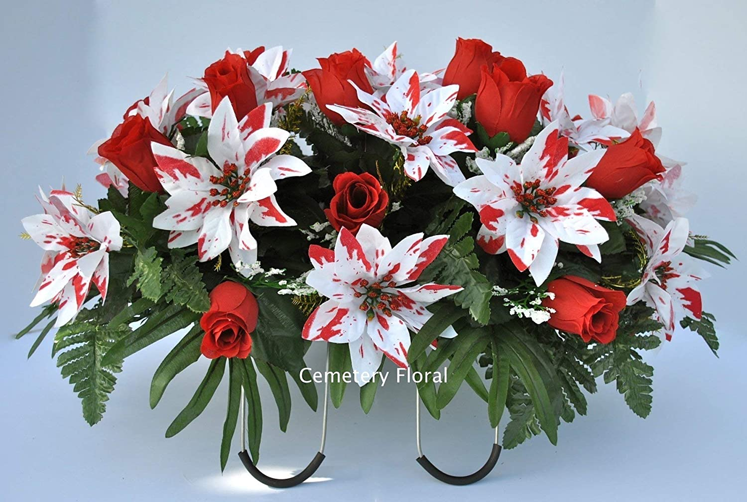 Amazon Com Cemetery Headstone Decoration For Christmas With Peppermint Poinsettias And Red Roses As A Saddle Handmade