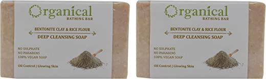 ORGANICAL Bentonite Clay Soap for Oily Skin/ SLS and Paraben-free, 150g -Pack of 2
