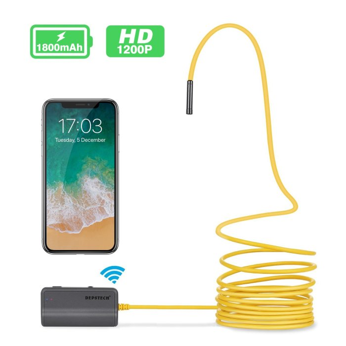 Wireless Borescope WiFi Inspection Camera Super handy camera on a rigid wire to send around tight corners and in-between walls to inspect our boat & RV.  Wirelessly transmits back to our iPhone/iPad.