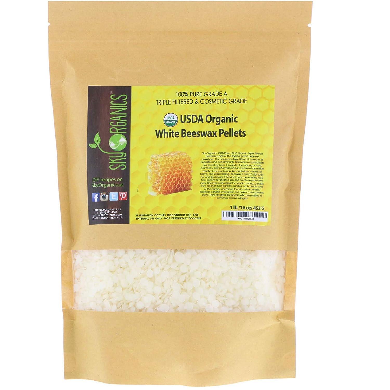 Sky Organics USDA Organic White Beeswax Pellets (1lb)