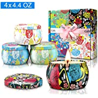 Large Size Scented Candles Gifts Sets for Women-Gardenia, Lavender, Jasmine and Vanilla, Natural Soy Wax Travel Tin Fragrance Gift for Valentine's Day Birthday Mother's Day Bath Yoga