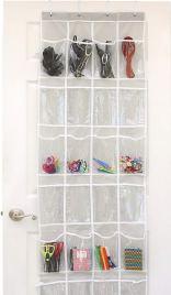 over-the-door clear 24 pocket shoe organizer