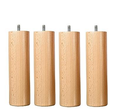 Wood Select Jeu De 4 Pieds Bois Naturel Hauteur 25 Cm Fixation Standard M8