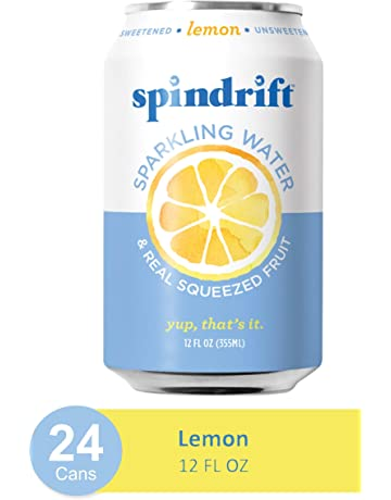 Spindrift Sparkling Water, Lemon Flavored, Made with Real Squeezed Fruit, 12 Fl Oz Cans, Pack of 24 (Only 3 Calories per Seltzer Water Can)