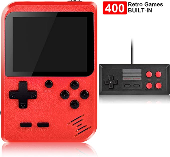 Handheld Game Console, Kiztoys Retro Game Console with 400 Classic Handheld Games, Supporting 2 Players & TV Connection, 800 mAh Rechargeable Battery