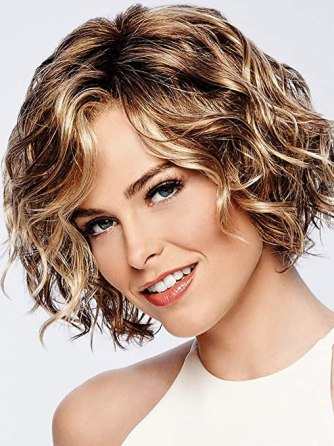 ELIM Short Blonde Wigs for White Women Curly Wavy Synthetic Female Hair Wig Full Wigs with Wig Cap Z118