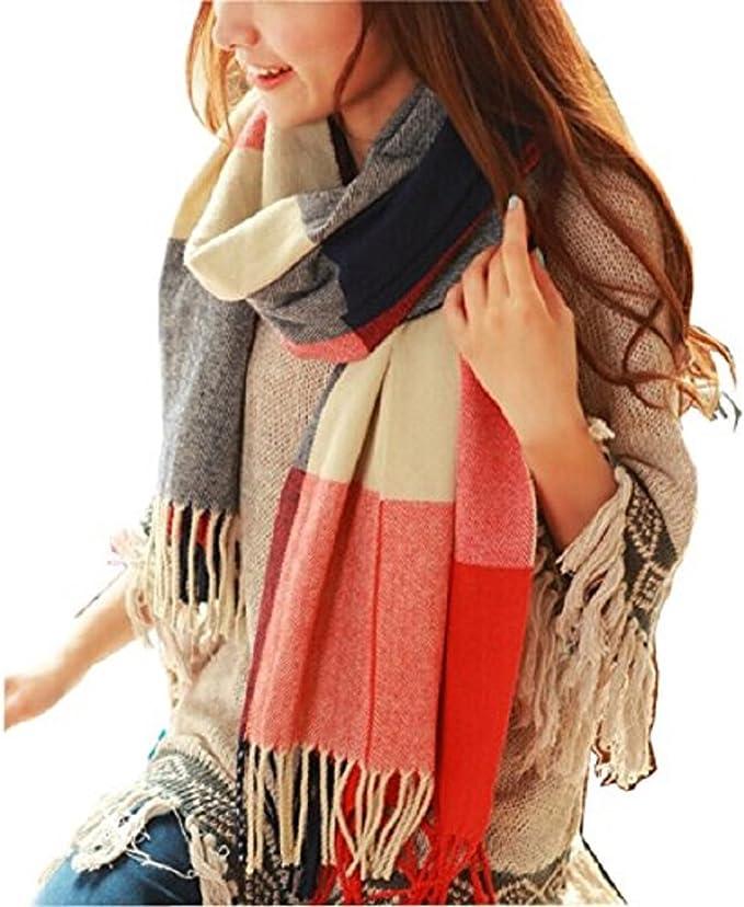 Wander Agio Women's Fashion Long Shawl Big Grid Winter Warm Lattice Large Scarf Orange Red Winter