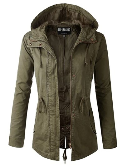 TL Women's Utility Militray Anorak Drawtring Parka Hoodie Jackets with Pocket_OLIVE 3XL