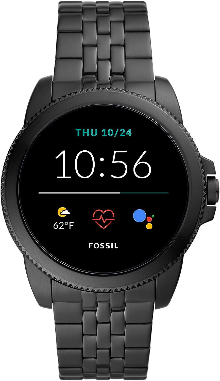 New Fossil Men's 44MM Gen 5E Stainless Steel Touchscreen Smart Watch, Color: Black (Model: FTW4056)