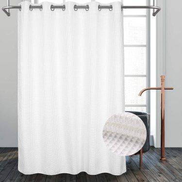 Hotel Grade No Hooks Needed Shower Curtain