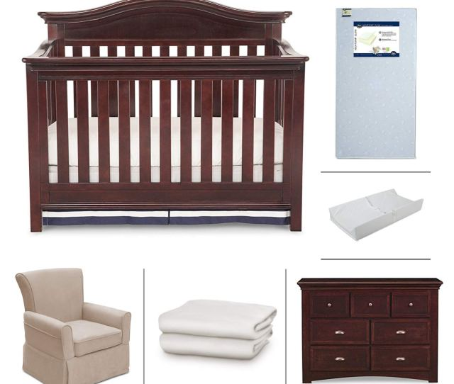 Nursery Furniture Set With Convertible Crib Crib Mattress Glider Dresser Changing Pad And Daybed Toddler Guardrail By Simmons Kids 6 Piece Augusta