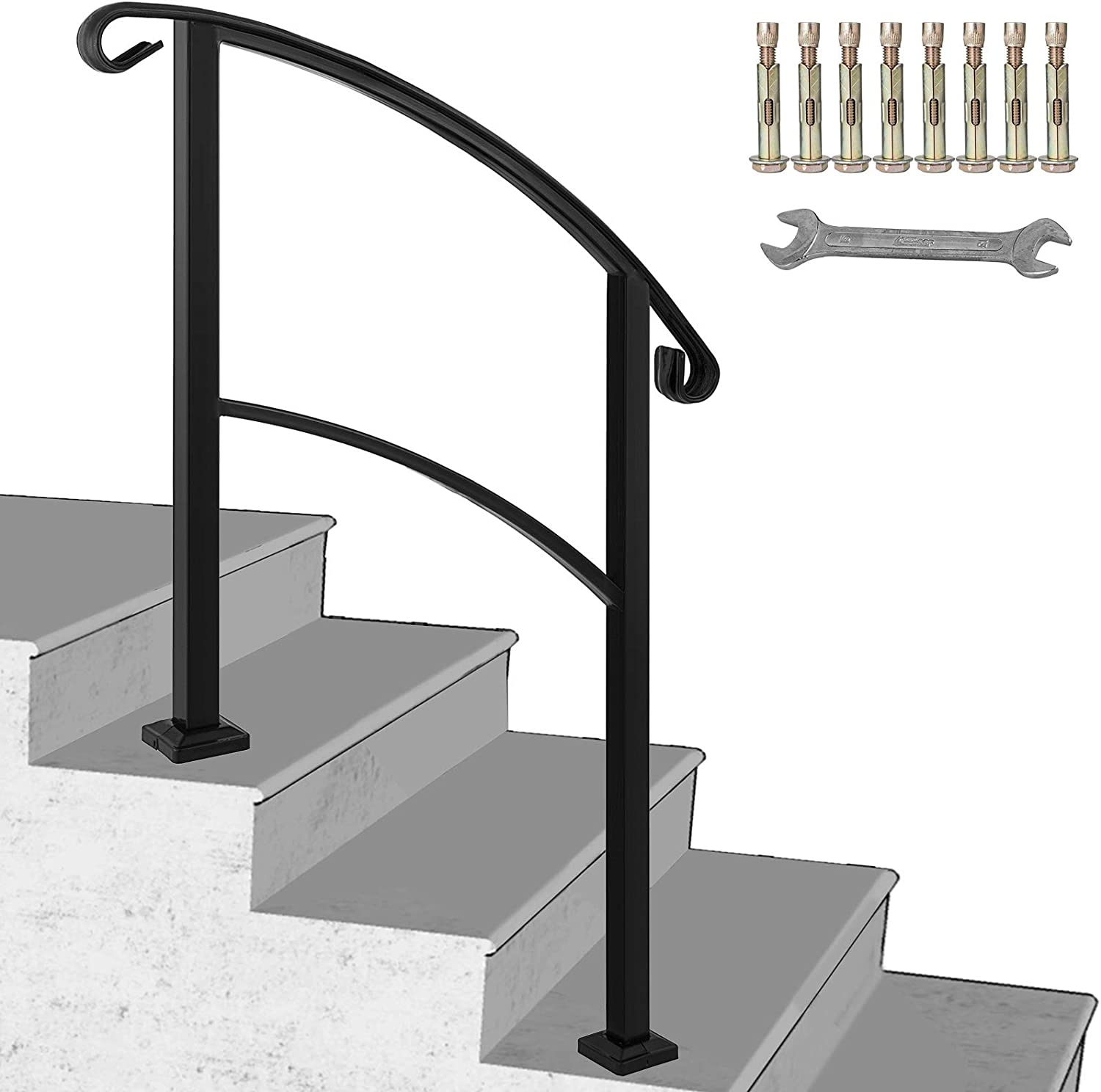 Happybuy 3 Step Transitional Handrail Fits 1 Or 3 Steps Matte | Outdoor Metal Stair Steps | Stair Railing | Stair Riser | Deck Stairs | Stair Stringer | Wrought Iron Railings