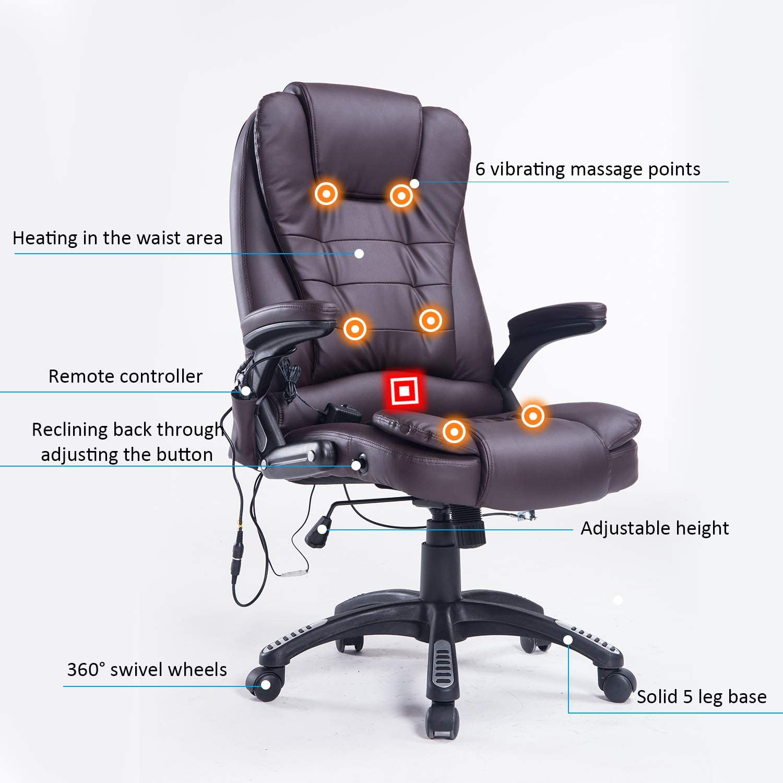 Amazon Com Home Office Computer Desk Massage Chair Executive Ergonomic Heated Vibrating Brown Furniture Decor
