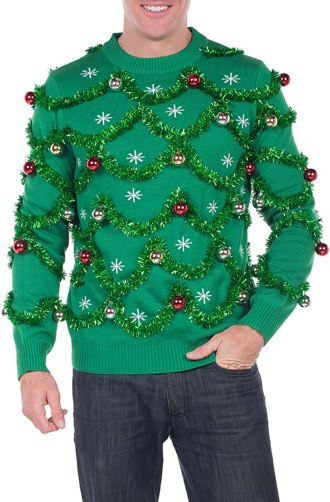 Christmas sweater with tinsel
