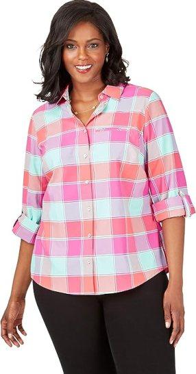 Reese Plus Wrinkle-Free Buffalo Plaid UPF Shirt