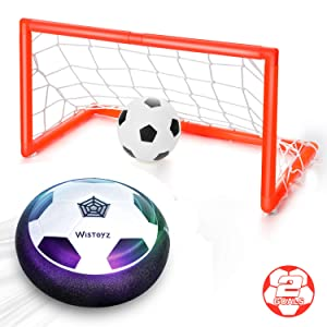 WisToyz Kids Toys Hover Soccer Ball Set with 2 Goals Indoor Outdoor Sports Air Soccer Set Foam Bumper LED Light Game Ball Toy for Kids Boys Girls Toddler Age 3,4,5,6,7,8-16 Inflatable Ball Included
