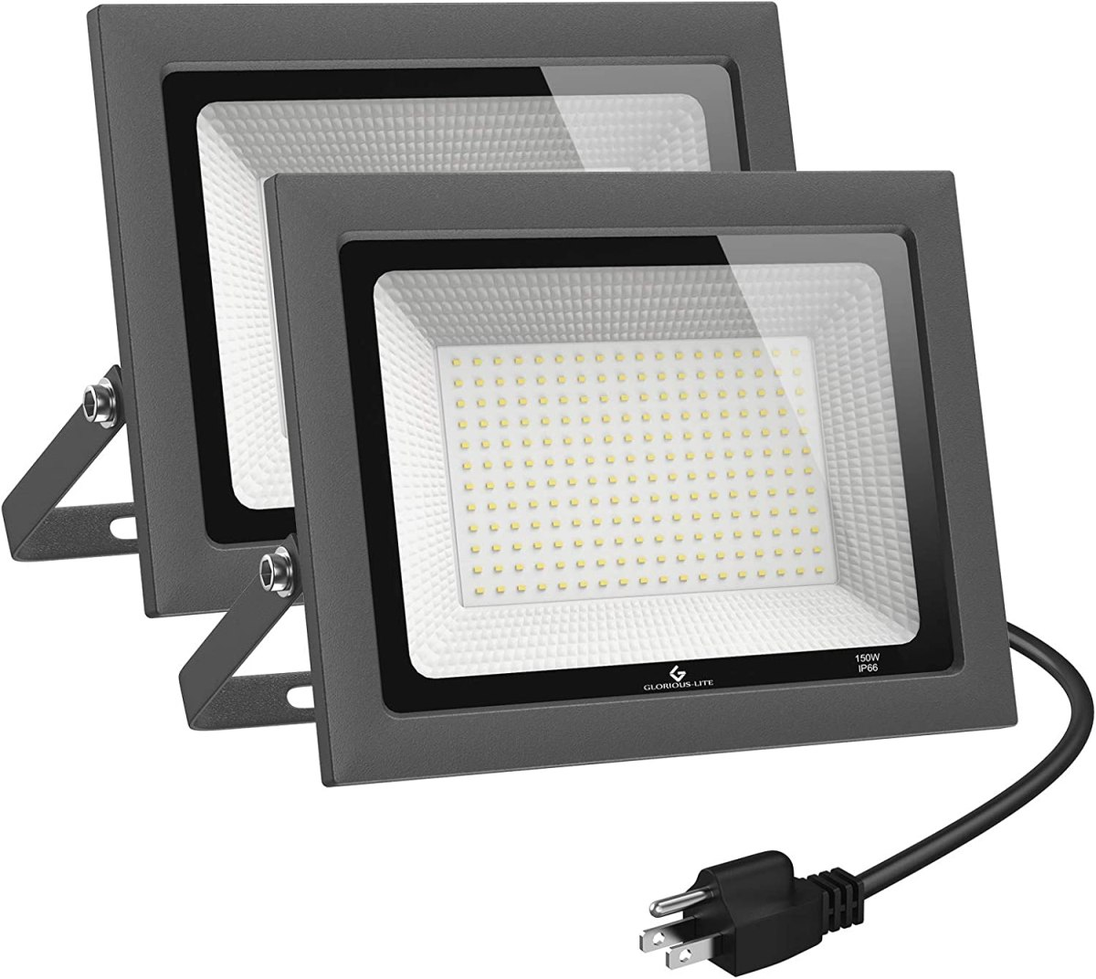 GLORIOUS-LITE 2 Pack 100W LED Flood Light Outdoor
