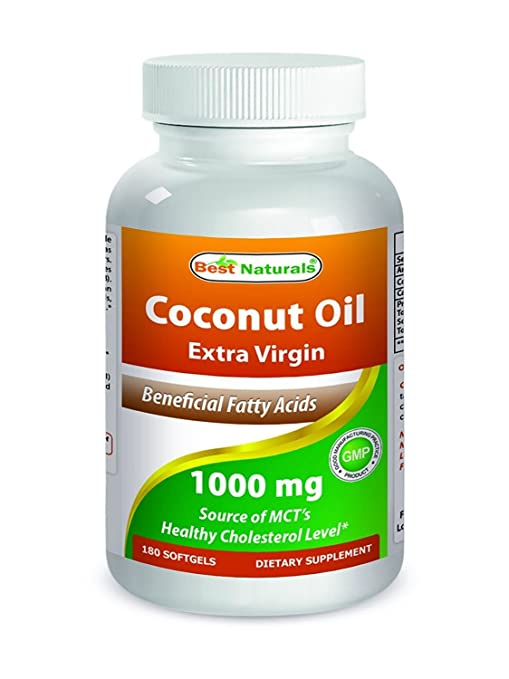 Best Naturals Extra Virgin Coconut Oil 1000 mg Softgel, 180 Count