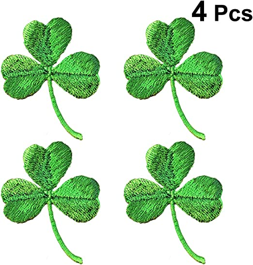 Amazon Com Amosfun Embroidery Green Three Leaf Clover Patches Shamrock Cloth Paste St Patrick Day Patches For Garment Sewing Diy 4pcs Home Kitchen
