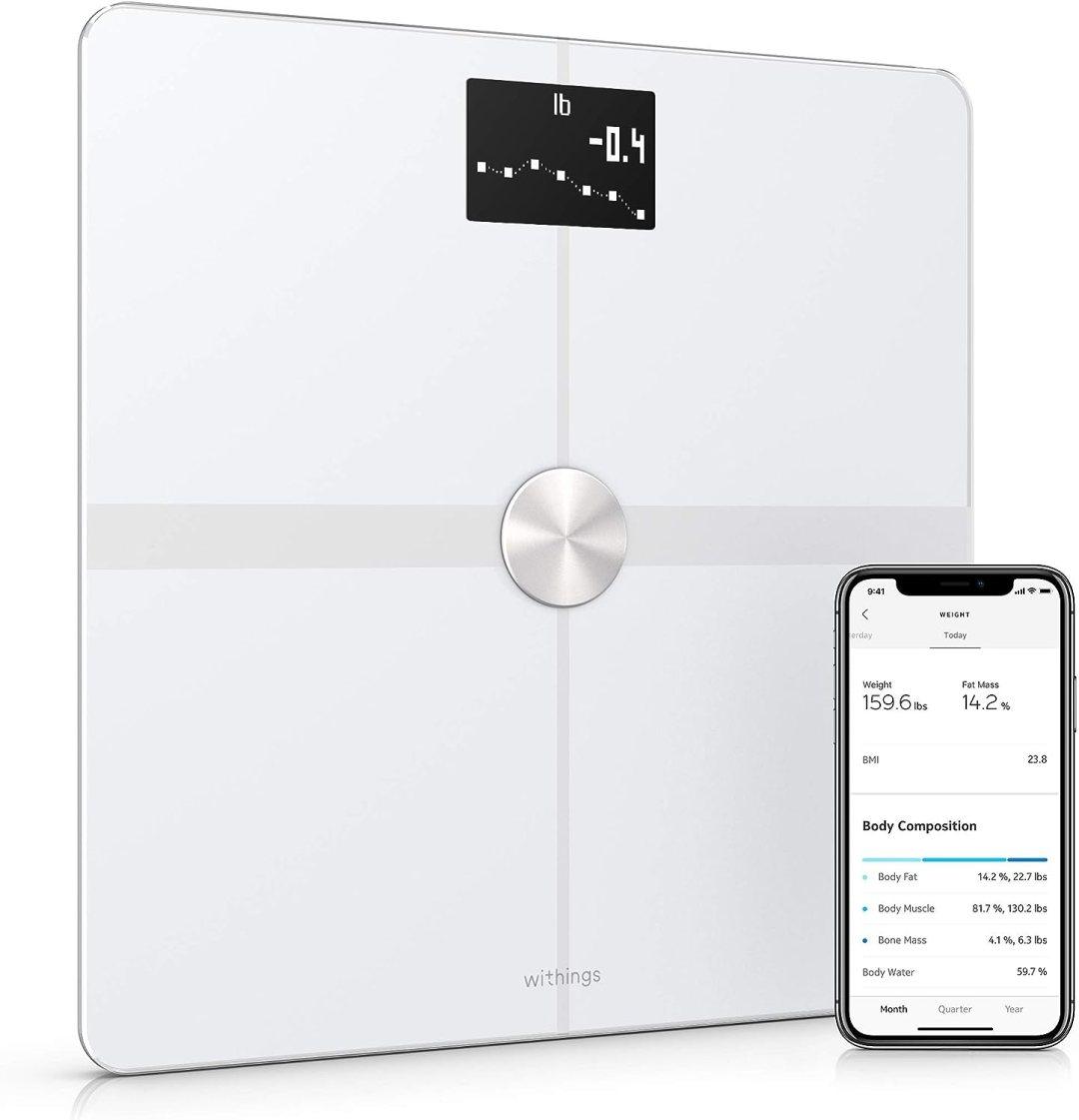 Withings Body+ - Balance connectée WiFi & Bluetooth avec analyse de la composition corporelle (poids, masse grasse/musculaire/osseuse, % d'eau), pèse personne impédancemètre multi-utilisateurs