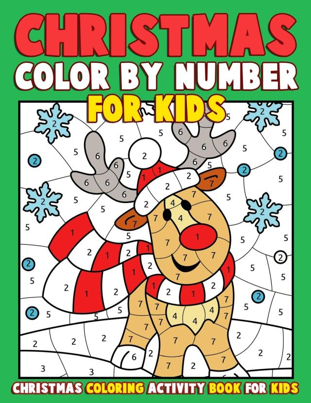 Christmas Color by Number for Kids: Christmas Coloring Activity