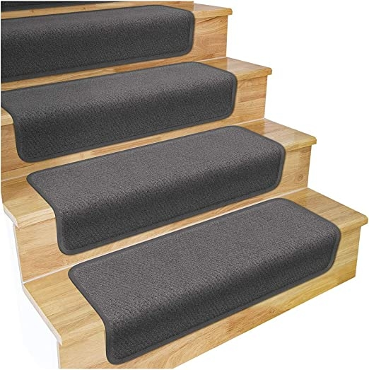 Amazon Com House Home And More Set Of 12 Overstep Attachable   Carpet Stair Treads Amazon   Non Skid   Anti Slip   Beige   Skid Resistant   Tread Rugs