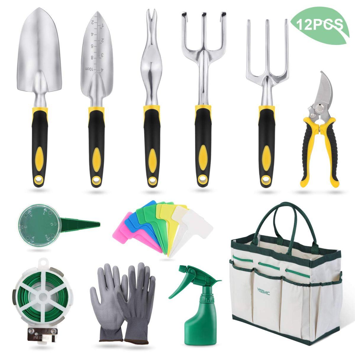 Kit de Jardinería de 12 Herramientas con Organizador.