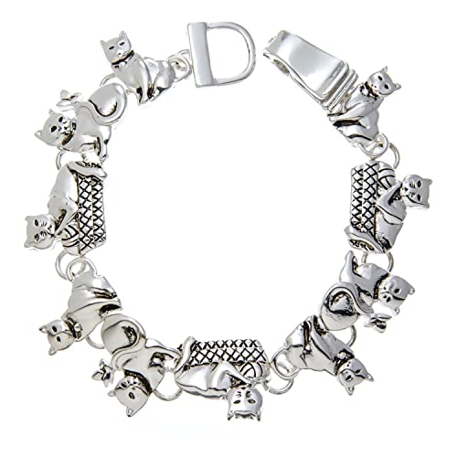 Silver Cat Charm Bracelet