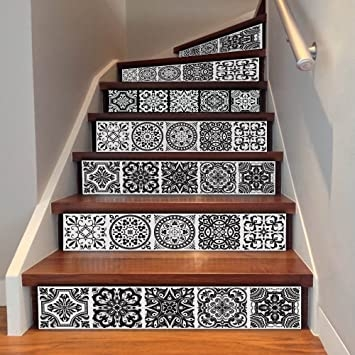 Amazon Com Uphome 6 Pcs Floral Tile Self Adhesive Stair Stickers | Stairs Tiles Design For Home | Readymade Staircase | Duplex House | Style Kerala | Railing | Porcelain
