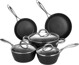 COOKER KING Nonstick Pots and Pans Set, Dishwasher and Oven Safe, 8 Piece Induction Cookware Set with Glass Lid, black