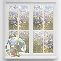 rabbitgoo Window Privacy Film, Rainbow Window Clings, 3D Decorative Window Vinyl, Stained Glass Window Decals, Static Cling Window Sticker Removable Non-Adhesive UV Blocking 17.7 x 78.7 inches