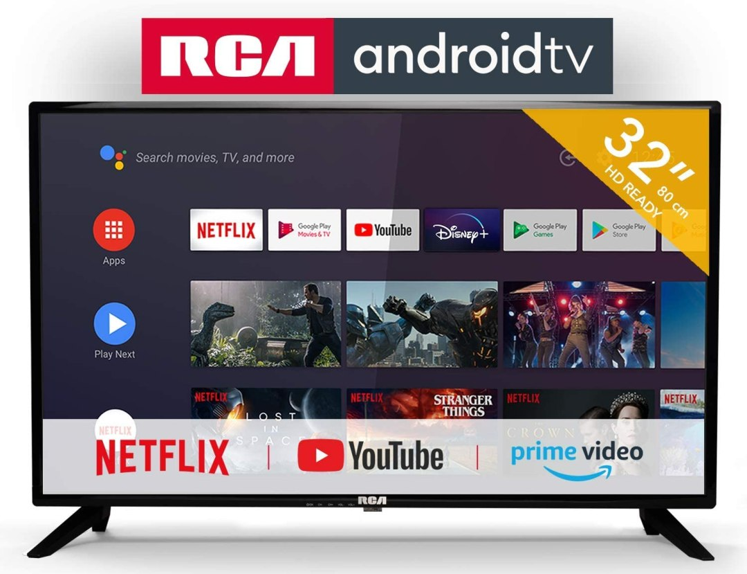 RCA RS32H2 Android TV (32 Pouces HD Smart TV avec Google Assistant), Chromecast intégré, HDMI+USB, Triple Tuner, 60Hz