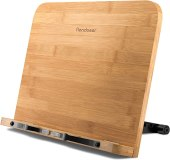 Reodoeer Large BamBoo Book Stand (13 x 9.3 inch) Reading Rest Cookbook Stand Document Holder for Kitchen & Office