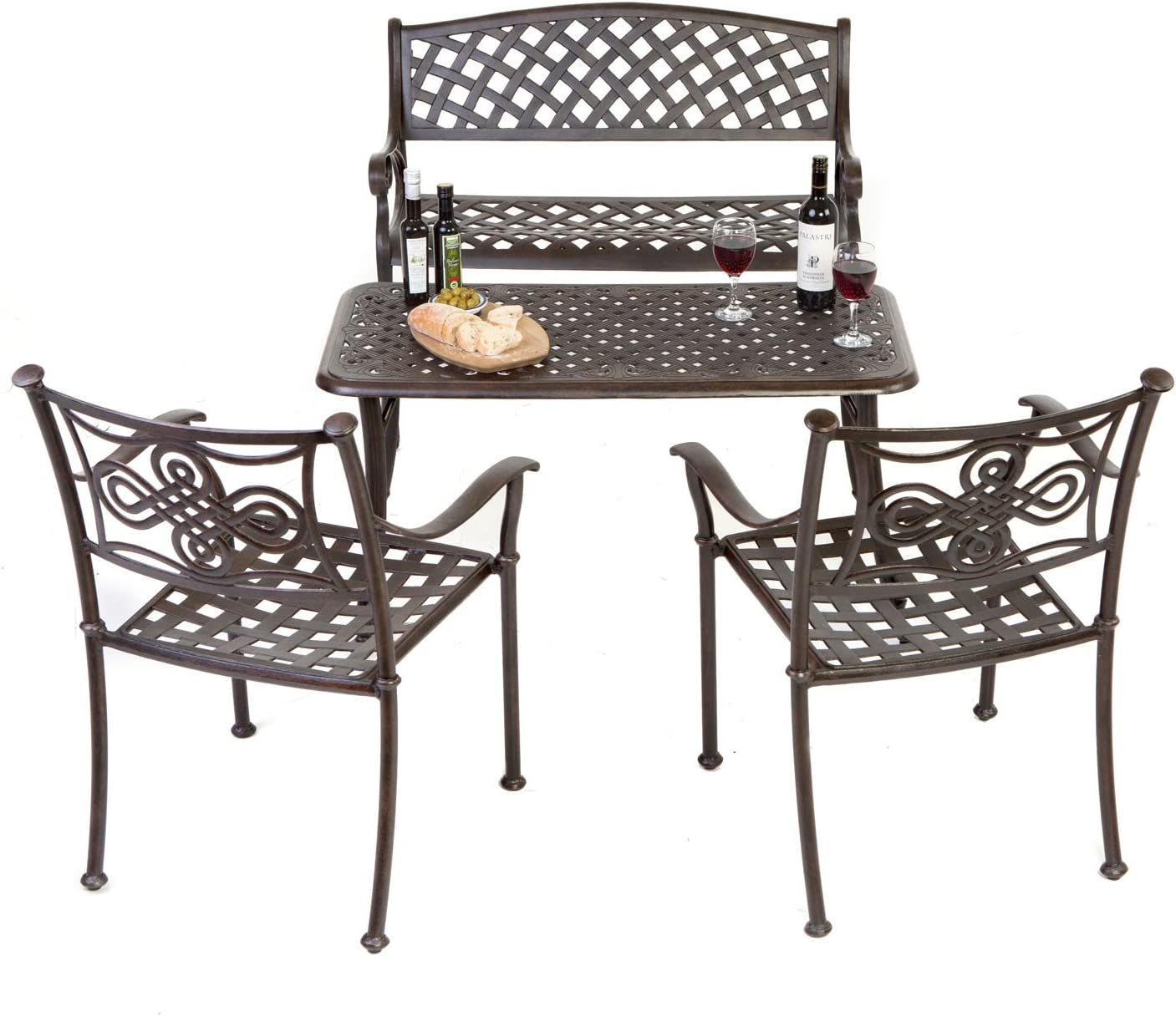 Bench Table Chairs Set Aluminium Outside Furniture 4 Seater Set Amazon Co Uk Garden Outdoors