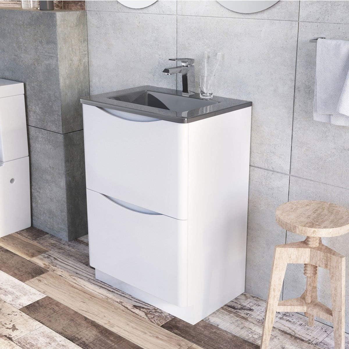 The Bath People Eaton Vanity Units Bathroom Vanity Units Bathroom Units Floor 600mm Grey Glass Basin Amazon Co Uk Kitchen Home