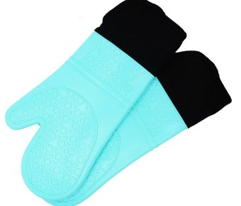 Silicone Oven Mitts with Quilted Cotton Lining - Professional Heat Resistant Potholder Kitchen Gloves