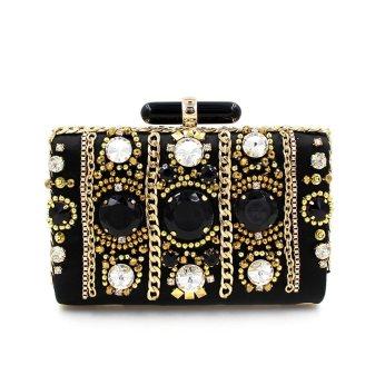 Fit & Wit Women Black Beaded Snap Closure Vintage Party Evening Clutch Bag